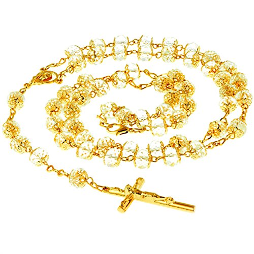 LIFETIME JEWELRY Rosary Necklace [ Crystal Prayer Beads ] 24K Real Gold Plated