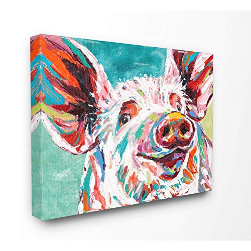Stupell Industries Brightly Painted Pig Canvas Wall Art, 16 x 20, Design by Artist Carolee Vitaletti