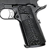 Cool Hand 1911 Full Size G10 Grips, Magwell Cut,Big Scoop, Ambi Safety Cut, Sunburst Texture, Brand, Grey/Black