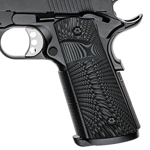 Cool Hand 1911 Full Size G10 Grips, Magwell Cut,Big Scoop, Ambi Safety Cut, Sunburst Texture, Brand, Grey/Black