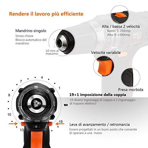 TACKLIFE Avvitatore Batteria 12V Leggerezza Trapano avvitatore 2 Batterie da 2000mAh 1 Ora Ricarica Rapida 2 Velocità 19 Coppie Regolabili 1 Modalità da Forare PCD03B