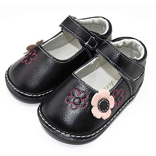 Chulis Toddler Girl Shoes Baby Girl's Mary Jane Flats (Black, 6)