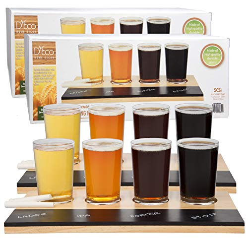 Beer Tasting Flight Sampler Set (2 Pack) Eight 6oz Pilsner Craft Brew Glasses With 2 Wooden Paddles and 2 Chalkboards - Great Father's Day Gift
