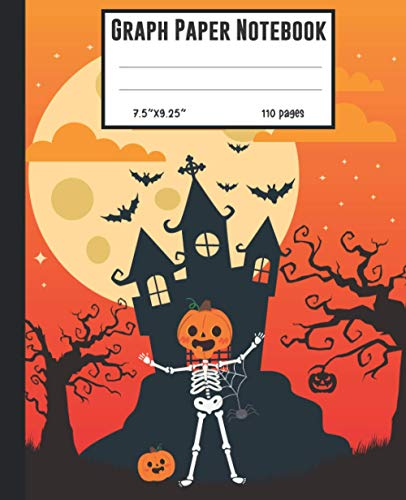 Graph Paper Notebook: Halloween Quad Ruled Notebook (7.5x9.25) Scary Witch House With Smily Skull Face and Pumpkin