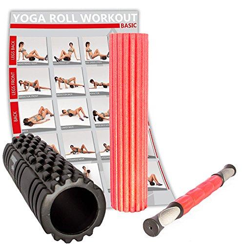 POWRX 3 in 1 Faszien Set inkl. Workout | Faszienrolle für Reflexzonen + Massagerolle zur Selbstmassage + Massagestick für Trigger Punkte