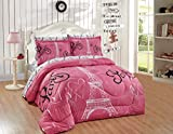 Home Collection Queen Size Comforter And Sheet Set Paris Eiffel Tower Hearts Flowers for Girls/Teens White Pink Black Pink/ Pink New