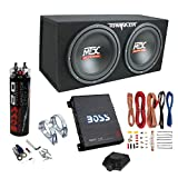 MTX TNP212D2 12' 1200 Watt 4 Ohm Dual Loaded Car Audio Subwoofer Package with Sub Enclosure, Boss 1100W Mono A/B Amplifier, Wiring Kit and Capacitor