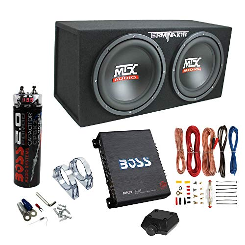 """MTX TNP212D2 12"""" 1200 Watt 4 Ohm Dual Loaded Car Audio Subwoofer Package with Sub Enclosure, Boss 1100W Mono A/B Amplifier, Wiring Kit and Capacitor"""
