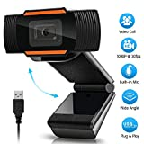 3T6B Computer HD Webcam, USB Computer Webcam with Microphone 360 Rotatable 1280 x 720p Streaming HD Webcam for Gaming, Live Streaming, Conferencing & Working, Laptop