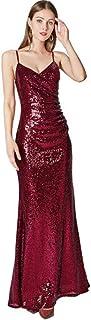KDOAE Abito da Ballo Le Paillettes da Donna della Primavera Slim Banchetto Host Host Sling Dress delle Donne Donne (Color ...