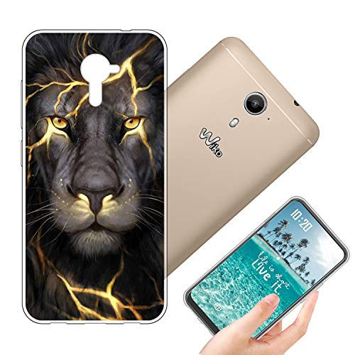 vingarshern Coque Wiko U Feel Prime Housse Cover Anti Choc Protection,Ultra Fine Bumper Case Étui Wiko U Feel Prime Coque en Silicone Souple Back Couverture,Lion
