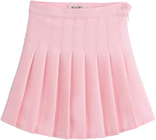 abb11479a6 LINGS Women Girls Short High Waist Pleated Skater Tennis School Skirt