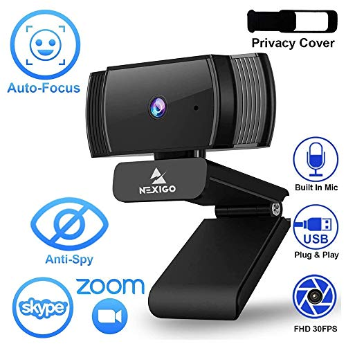 2020 [Upgraded] NexiGo AutoFocus 1080p Webcam with Microphone and Privacy Cover, Noise Reduction, HD USB Web Camera, for Online Class, Zoom Meeting YouTube Skype Facetime, PC Mac Laptop Desktop