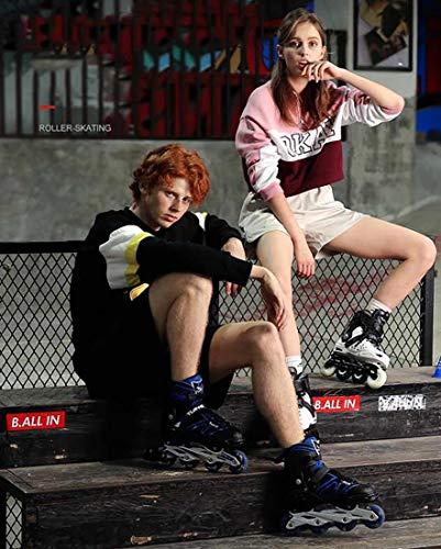 XIUWOUG Kids Men Women Inline Skates 30-41, 8 Unique White LED Wheels, ABEC-7 Chrome Ball Bearings Adjustable Unisex Fitness Skates for Adults Beginners Girls Boys,White,S 30_33