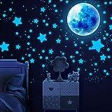 SAVITA 1115 Pzas Luminoso Pegatinas de Pared Luna y Estrellas,Fluorescente Decoración de Pared para Dormitorio de Niños,DIY Luminoso Pegatinas de Pared