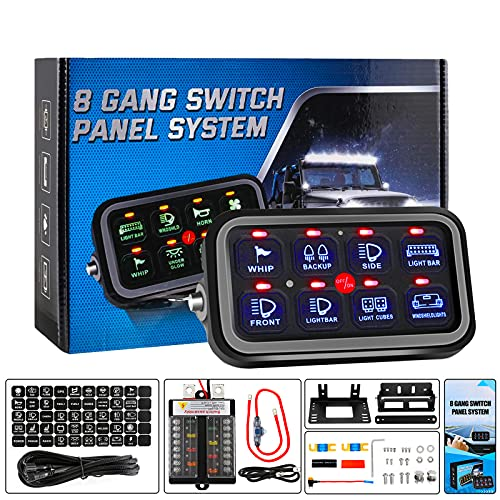 Auxpower 8 Gang Switch Panel Electronic Relay System, Universal Light Bar Switch Panel for Truck Car Offroad UTV Caravan, Automatic Dimmable, Waterproof, Blue Backlight