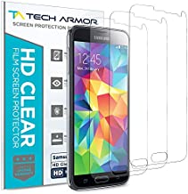 Tech Armor High Definition HD-Clear Film Screen Protectors (Not Glass) for Samsung Galaxy S5 [3-Pack]