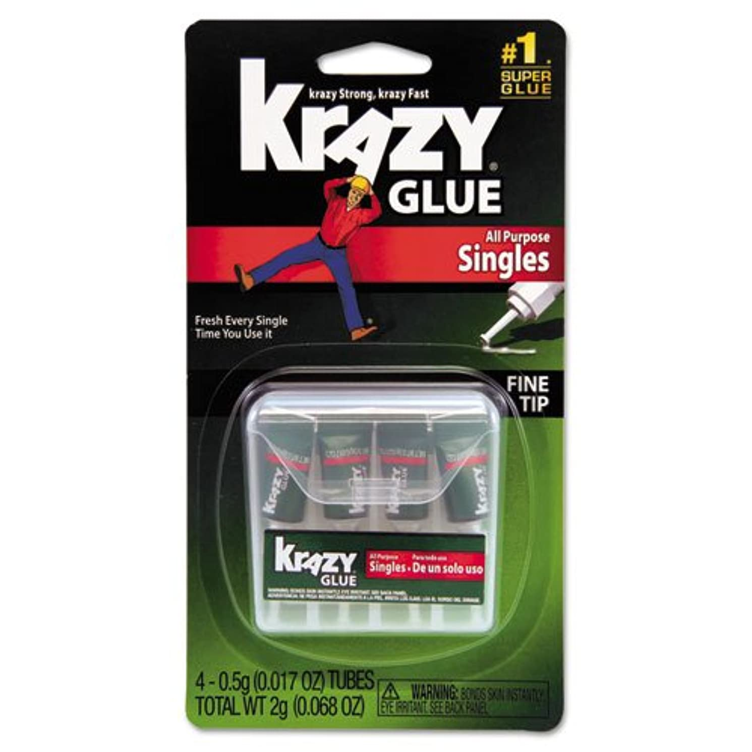 Krazy Glue Products - Krazy Glue - Krazy Glue Single-Use Tubes w/Storage Case, 4/Pack - Sold As 1 Pack - All-purpose formula for glass, metal, plastic, wood and rubber in single-use applicators that offer convenience and ease of use for home and office. - Just twist the self-piercing cap to open, use and discard. - Convenient storage case. - Dries clear. -