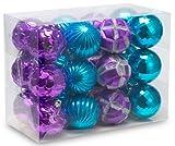AUXO-FUN 2.36'/60mm shatterproof Christmas Ball Ornaments Tree Decoration Baubles Set of 24 Counts (Purple & Blue)