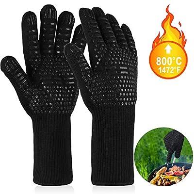 EXTSUD Grillhandschuhe hitzebeständig bis zu 800°C, 1 Paar BBQ Handschuhe Ofenhandschuhe Silikon Rutschfeste Kochenhandschuhe Backhandschuhe, Extra Lang Zum BBQ Grillen, Kochen, Backen, Feuerplatz