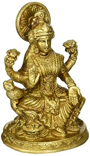 Cultural Hub Kulturelle hubj92–600–0030handgemachte Vintage/Handgefertigtes Religiöse Geschenk massiv Messing Statuen/Skulpturen der Hindu Göttin Lakshmi Home Decor Antik Artefakt