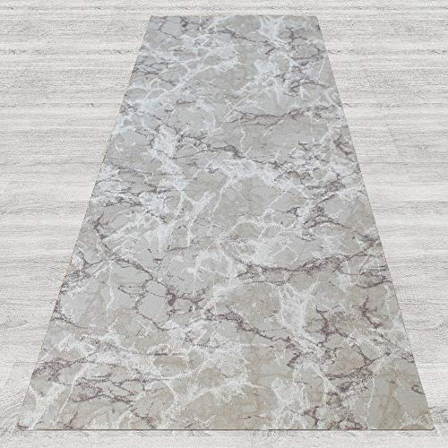IlGruppone Tappeto passatoia Fantasia Effetto Marmo Light Antiscivolo Lavabile Varie Misure - Marmo Light - 50x350 cm