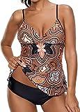 Socluer Tankini Traje de baño para Mujer Estampado Floral Elegante de Dos Piezas Push Up Vendaje Tamaño Grande S-5XL