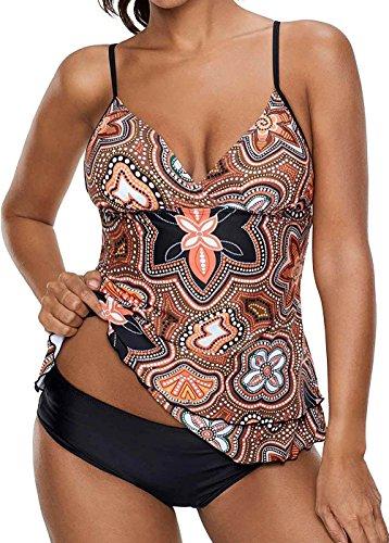Socluer Femme Tankini Elégant Imprimé Floral Maillot de Bain 2 Pièces Push Up Bandage Grande Taille S-5XL(M(FR 36/38),Orange)
