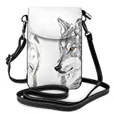Women Small Cell Phone Purse Crossbody,Two Wolf Portraits Sleeping Hunting Carnivore Animals Nature Wildlife Theme