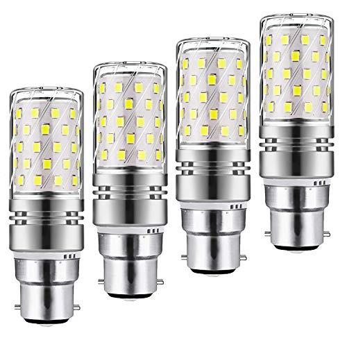 Yiun B22 LED Mais Lampen 12W, 100W Glühlampenäquivalent, 1200lm, Weiß 6000K LED Kronleuchterbirnen, dekorativer Kerzenständer B22, nicht dimmbare LED-Lampe, 4er Pack