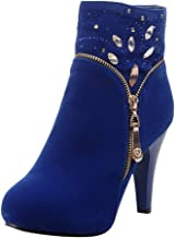 👍ONLT TOP👍 Women's Sexy High Heel Platform Ankle Bootie Zip Up Stiletto Comfortable Boots Dress Shoes with Crystal
