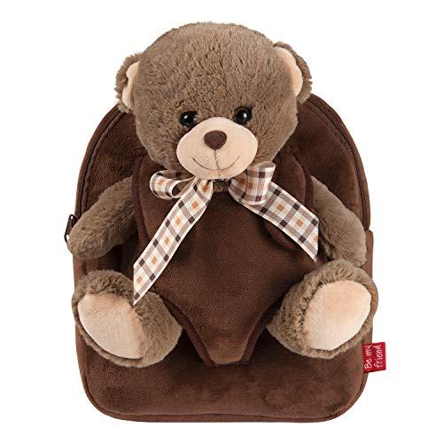 PERLETTI Kuscheltier Braunbär Rucksack für Kinder mit Plüschtier Bär - Pluschbär Weich Flauschig und Kindergarten Schultasche - 3 4 5 Jahren Baby Kindertasche 27x21x9 cm (Braunbär mit Bogen)