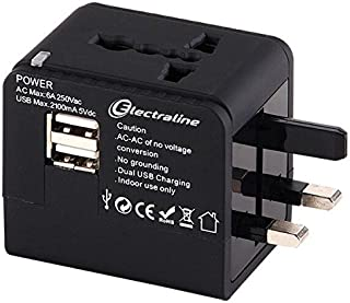 Electraline 70015 Adattatore da Viaggio e Caricabatterie USB Quick Charge-Adattato per Spine Africane Europee Americane Au...