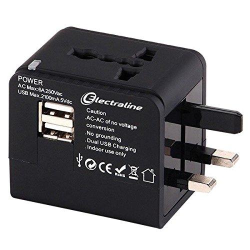 Electraline 70015– Adaptador de Viaje y Cargador USB–Apto para enchufes Europeos, Americanos, africanos y australianos, para Las Vacaciones por Todo el Mundo–Más de 150países, Color Negro