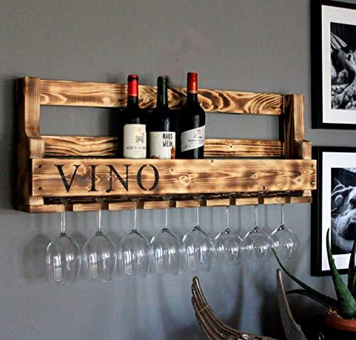 Hochwertiges Weinregal aus Holz für die Wand - mit Gläserhalter und VINO Schriftzug - braun geflammt - fertig montiert - Regal für Weinflaschen und Weingläser