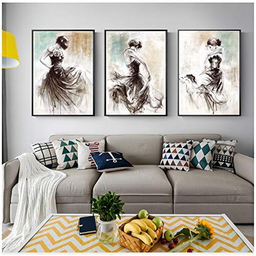 A&D Abstrakte Mädchen Leinwandbilder Ballerina Moderne Wandbilder Für Wohnzimmer Poster Und Drucke Wandkunst Leinwand Cuadros-50x70cm Kein Rahmen