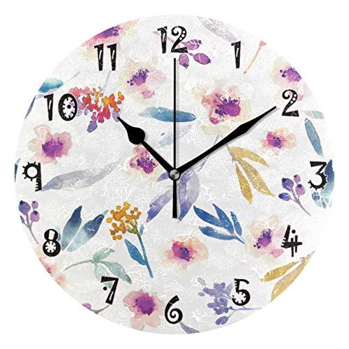 JUMBEAR - Reloj de pared con diseño de hojas y flores vintage, silencioso, funciona con pilas, números arábigos exactos, decoración del hogar para cocina, sala de estar, 25 cm