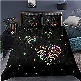 Juego de ropa de cama, diseño de amor, funda de edredón de 200 x 200 + funda de almohada de 80 x 80 cm, 2/3 piezas, fibra de poliéster hipoalergénica, amor de ensueño c-200 x 200 cm