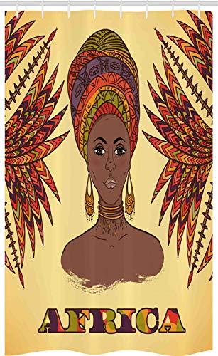 ABAKUHAUS Afrika Schmaler Duschvorhang, Frau Turban Palmen Kulturell, Badezimmer Deko Set aus Stoff mit Haken, 120 x 180 cm, Kakao Hell Orange Dunkles Indigo