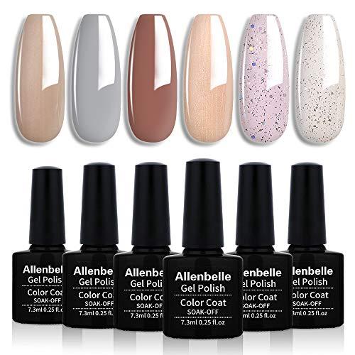 Allenbelle Smalto Semipermanente Smalti Semipermanenti Per Unghie Nail Polish UV LED Gel Unghie(Kit di 6 pcs 7.3ML/pc) 001