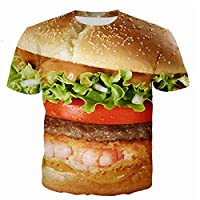 Tシャツ服ハンバーガー3Dプリントアウトドアスポーツファッションカジュアル半袖夏ユニセックスパフォーマンスコスプレ