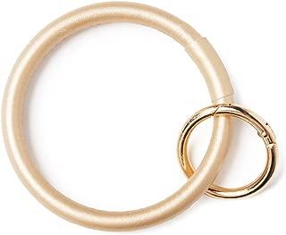 Bracelet keychain Key Ring Faux Leather Printed Sturdy Round Wristlet Bangle Key Fob Save for Women Girl