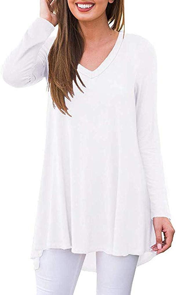 Poetsky Women's Fall Long Sleeve V-Neck Tunic Tops Casual Loose Blouse Shirts