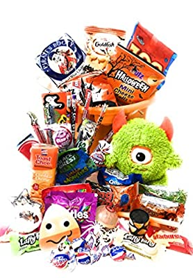 Halloween Candy Trick or Treat Pumpkin Bucket - Already Filled 50 Pieces Snacks Cookies Bars Candy Toys Gift Pack Assortment Basket Bundle for Children Kids Boys Girls College Students Care Package