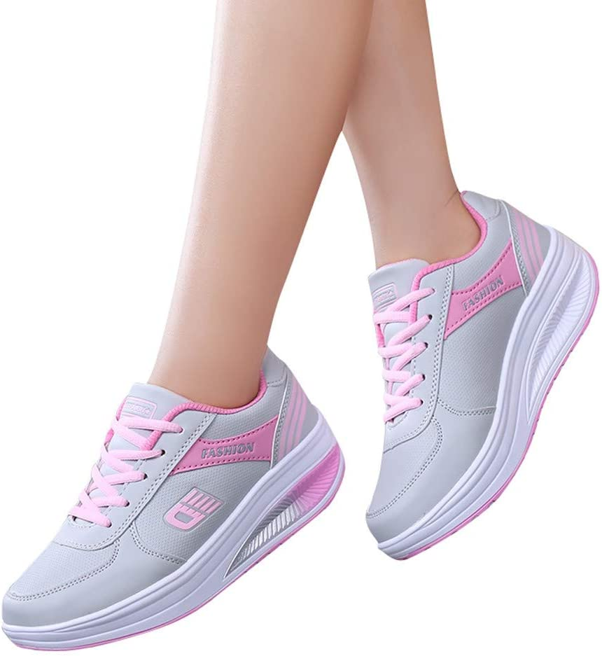 Wedge Sneakers for Women Summer Running Walking Tennis Athletic Shoes Fashion Mesh Heighten Shoes Soft Rocking Shoes