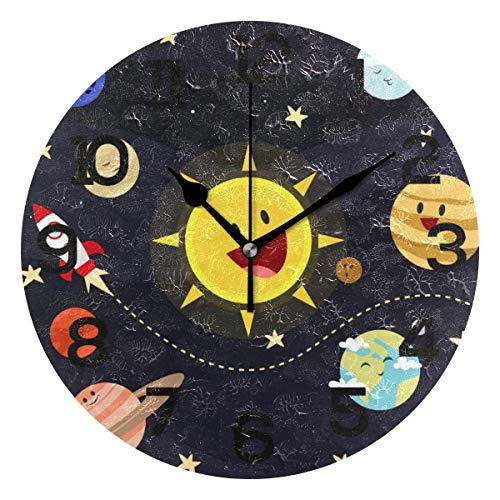 Fantastic Fairy Cute Solar System Planets Rocket Round Wall Clock Non Ticking Silent PVC for Home Decor Bedroom Kitchen School Office