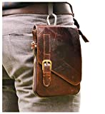 Le'aokuu Mens Genuine Leather Coffee Fanny Small Messenger Shoulder Satchel Waist Bag Pack (Coffee)