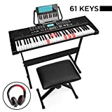 Best Choice Products 61-Key Beginners Complete Electronic Keyboard Piano Set w/LCD Screen, Lighted Keys, Headphones