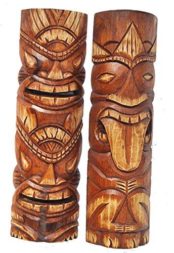 Juego de 2 máscaras Tiki de 50 cm en estilo hawaiano, de madera, para pared, isla de Pascua