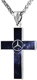Sokizhoy Cross Pendant Necklace Mercedes-Benz Car Logo Zinc Alloy Christian Religious Jewelry 24 Inch Chain for Men Women